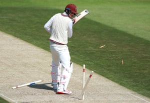 Somerset's Tom Banton is bowled by Gareth Berg.