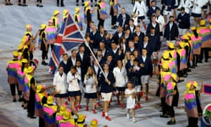 Andy Murray leads out Team GB during the Rio Olympic Games 2016 opening ceremony