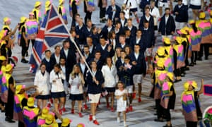 Tennis player Andy Murray leading out Team GB during the opening ceremony of the Rio Olympic Games.