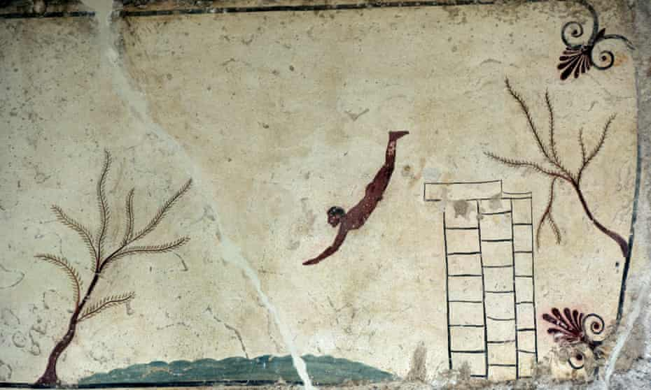 The Diver tomb painting at Paestum.