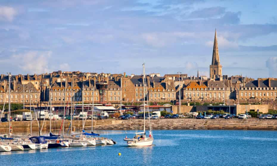 Harbour and walled city of Saint-Malo, Brittany, France.