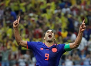 Colombia's Radamel Falcao celebrates scoring their second goal.