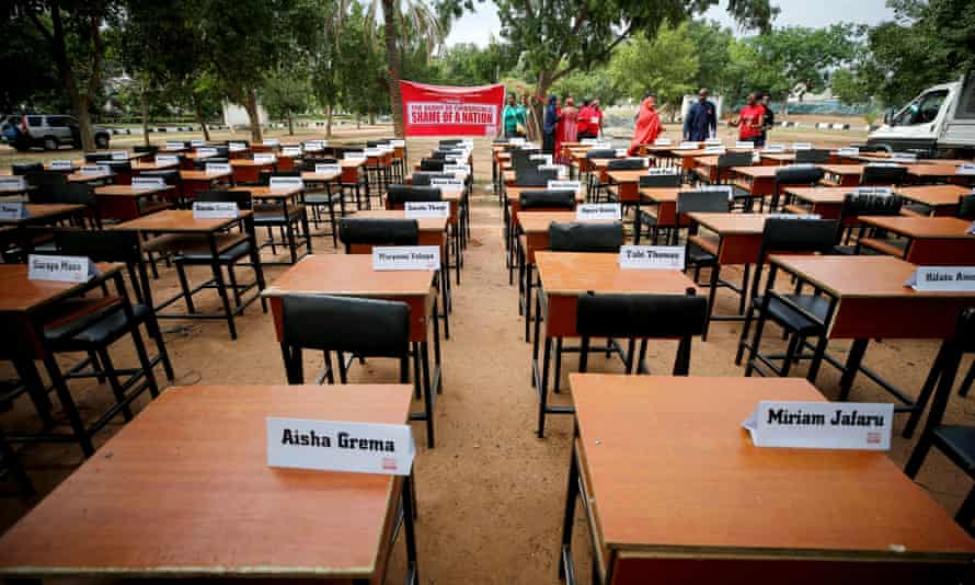 Names of missing Chibok schoolgirls kidnapped by Boko Haram insurgency displayed during the fifth year anniversary of their abduction in 2019