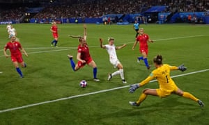 Ellen White of England is fouled by Becky Sauerbrunn of the USA inside the penalty area.