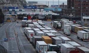Lorries queue at Dover.