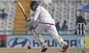 Haseeb Hameed plays a shot against India in Mohali in winter 2016.