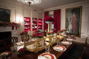 The dining table in the China room is set for dinner
