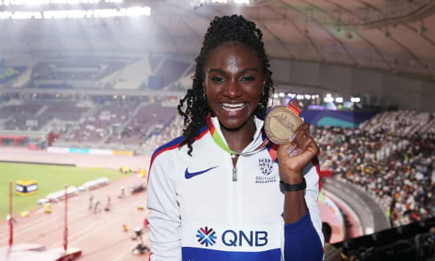 Dina Asher-Smith with her 200m gold medal at the Doha world championships last year.
