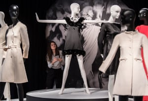 Hepburn's feather-trimmed Givenchy dress (centre).