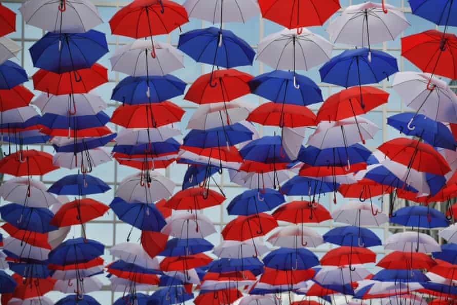 Umbrellas adorn the route.