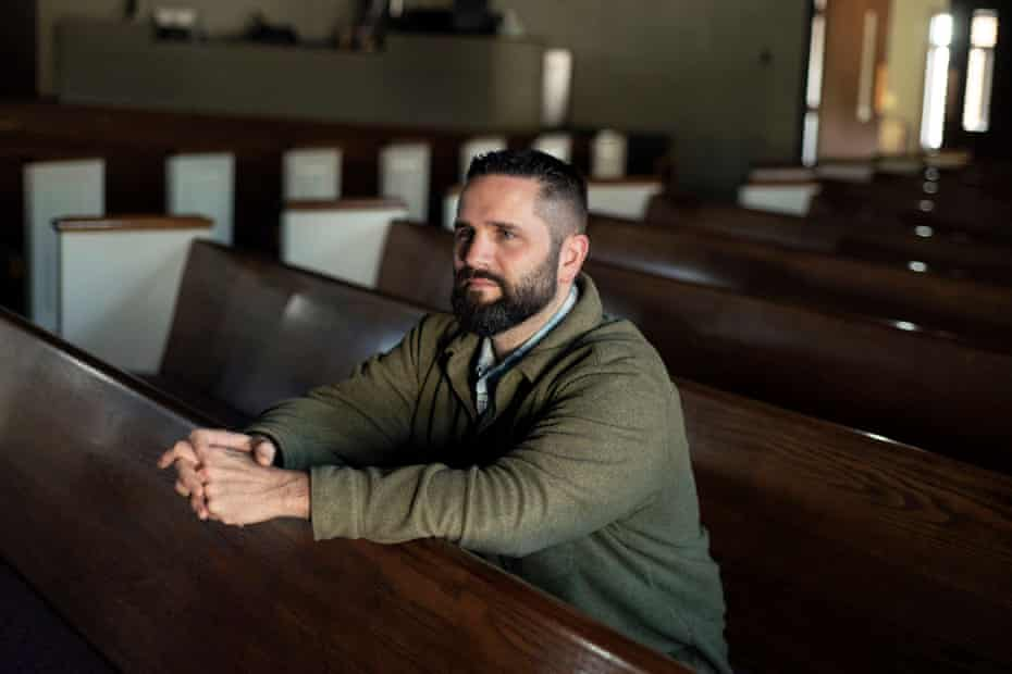 Pastor Dan Gunderson sits for a portrait inside Walnut Hill Bible Church in Baraboo, Wis. Jan. 3, 2019. Gunderson has supported high school boys who became the focus of international attention after a photo of them making what appears to be a Nazi salute went viral. The community has held town meetings to address the image.