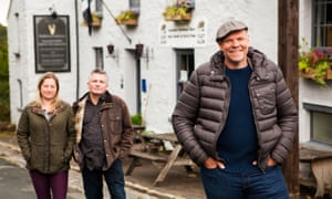 Tom Kerridge with publicans Amy and Ian outside the White Hart in Saving Britain's Pubs with Tom Kerridge, 8pm, BBC Two.