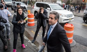 Trump's lawyer Michael Cohen arrives at court in Manhattan on Monday.