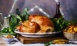 Turkey with herb and butter stuffing.
