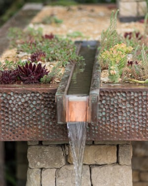 A copper-clad green roof and water feature in Helen Elks-Smith's Warner's Distillery garden.