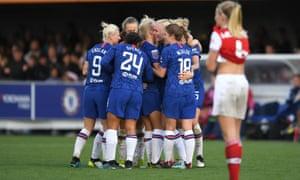 Maria Thorisdottir of Chelsea celebrates with teammates after scoring her team's second goal.