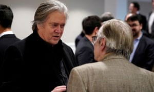 Steve Bannon speaks with Olavo de Carvalho, a right-wing Brazilian philosopher, before the showing of a documentary on the government of Brazilian president Jair Bolsonaro in Washington DC on Saturday.