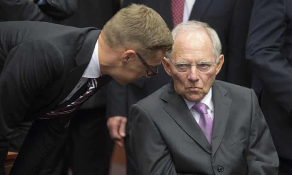 The expression on the German finance minister Wolfgang Schäuble's face speaks volumes