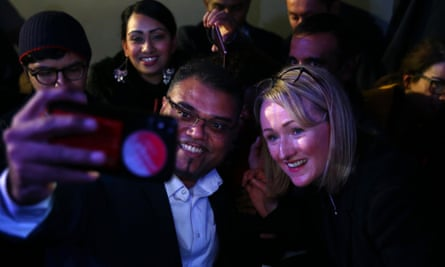 Long-Bailey poses with supporters during a Labour leadership campaign event in London.