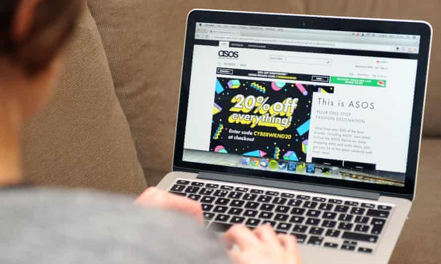 An online shopper using the Asos website
