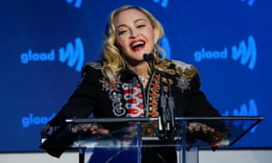 Madonna speaks to guests after receiving the advocate for change award during the 30th annual Glaad awards ceremony in New York City on Saturday night.