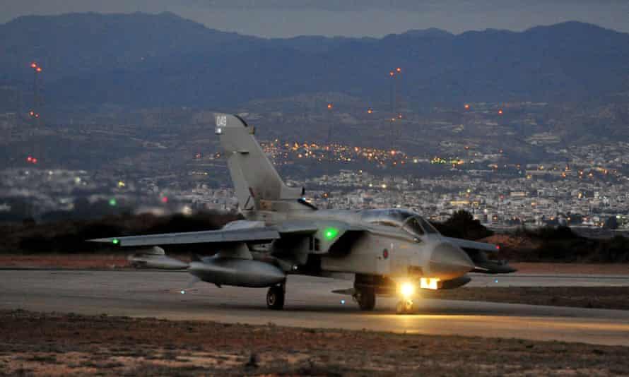 RAF Tornado GR4 landing at Akrotiri airbase in Cyprus