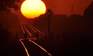 sunset in Madhya Pradesh state, India.