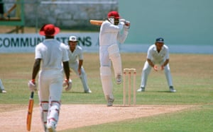 Gordon Greenidge on the attack against England during the fourth Test at Bridgetown in 1990.