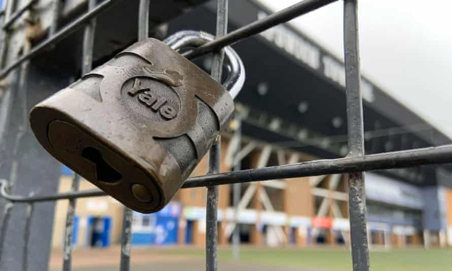 A padlock on a gate at Portman Road.