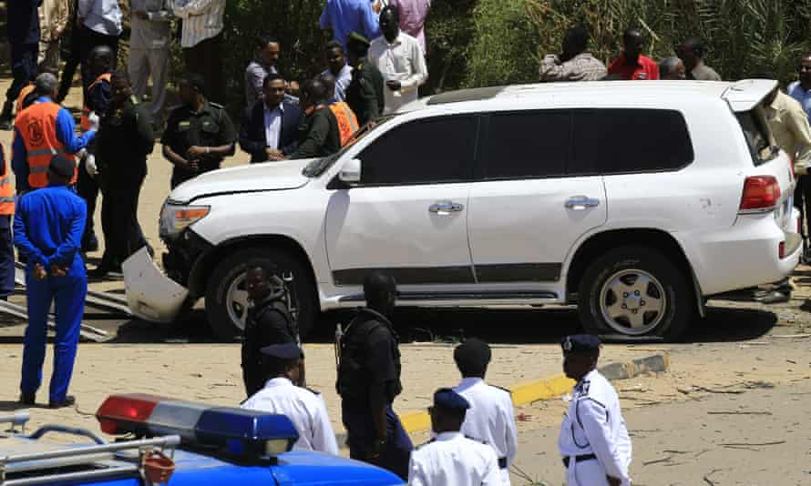 Sudanese rescue teams and security forces gather in Khartoum at the site of an apparent assassination attempt against Abdalla Hamdok.