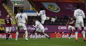Burnley's Ashley Westwood shot on its way to thumping against the woodwork.
