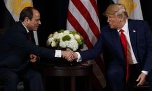 Abdel Fatah al-Sisi with Donald Trump at the United Nations General Assembly in New York on Monday 23 September 2019