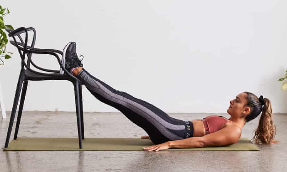 Shona Vertue demonstrates straight leg hip lift
