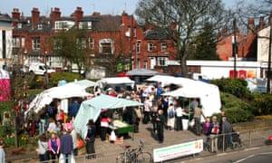 The farmers market in the student-heavy Leeds neighbourhood.