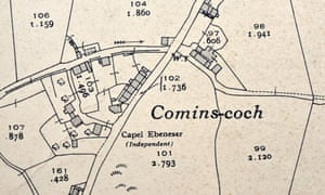 The 1938 map of Comins Coch.