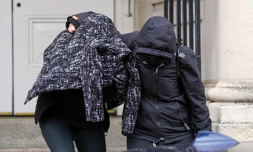 Jennifer Johnson (left), the ex-girlfriend of Russell Bishop, outside Lewes crown court.