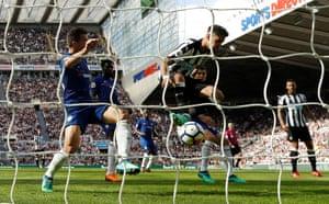 Perez scores Newcastle's third.