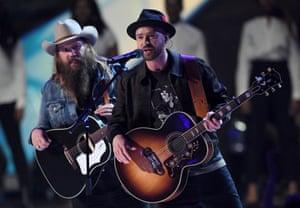 Justin Timberlake performs at the 38th Brit Awards show.