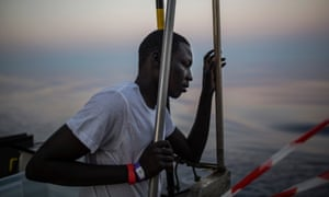 A migrant on the Aquarius rescue ship run by SOS Mediterranee and Medecins Sans Frontieres, August 2017