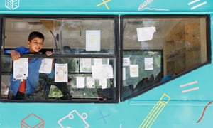 One of the library buses created for Kabul schoolchildren by non-profit organisation Charmaghz.