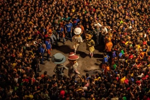 A crowd on the first day of La Patum festival in Berga, Spain