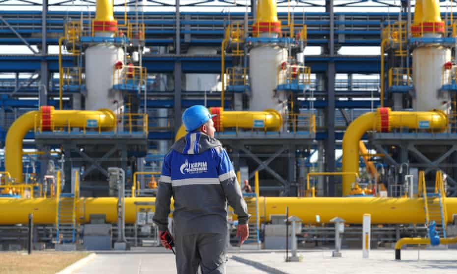 A gas treatment unit at the Slavyanskaya compressor station operated by Gazprom, in the Leningrad region of Russia.