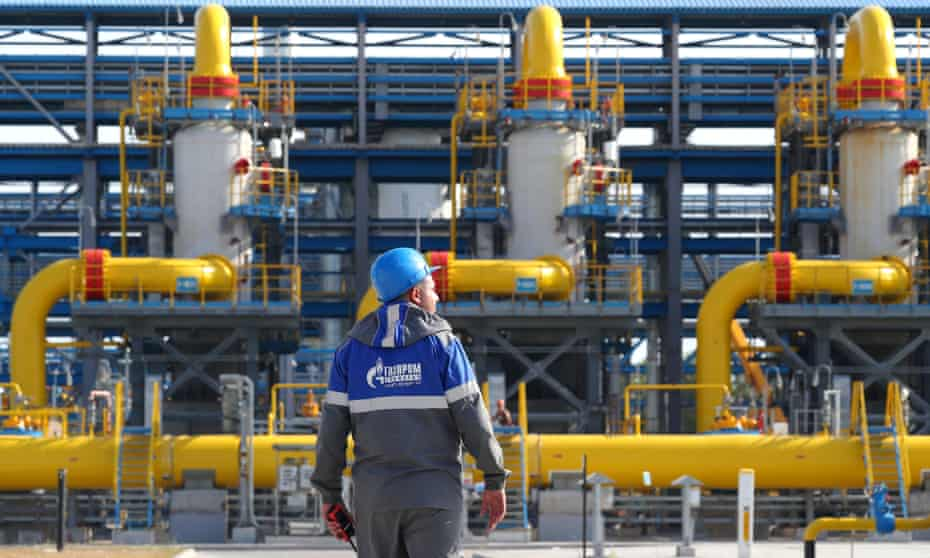 The Gazprom-operated Slavyanskaya compressor station at the starting point of the Nord Stream 2 offshore natural gas pipeline.