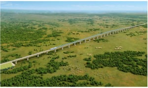 Artist's impression of the proposed railway viaduct crossing Nairobi National Park, Kenya.