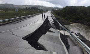 A road in Tarahuin, Chiloé Island, damaged by the earthquake on Sunday.