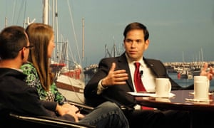 Senator Marco Rubio meets local voters at the Institute of Politics on the campus of St Anselm College in Manchester, New Hampshire, on Wednesday.