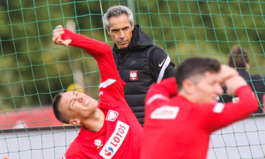 Paulo Sousa at a Poland training session in the buildup to Euro 2020.