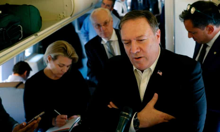US Secretary of State Mike Pompeo speaks to reporters while his plane refuels.