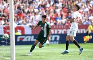 Wu Lei celebrates after scoring for Espanyol against Sevilla.