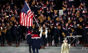 America flag bearer Erin Hamlin and the rest of the US team.